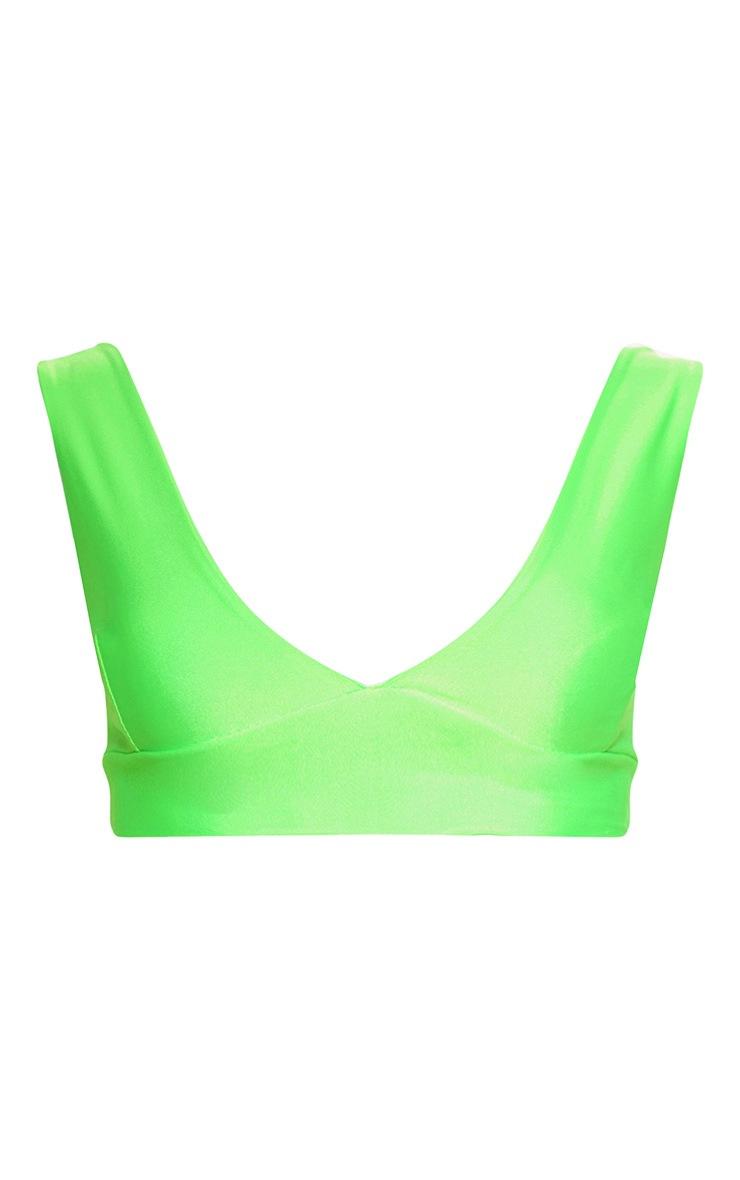 Neon Green Plunge Bikini Top 3