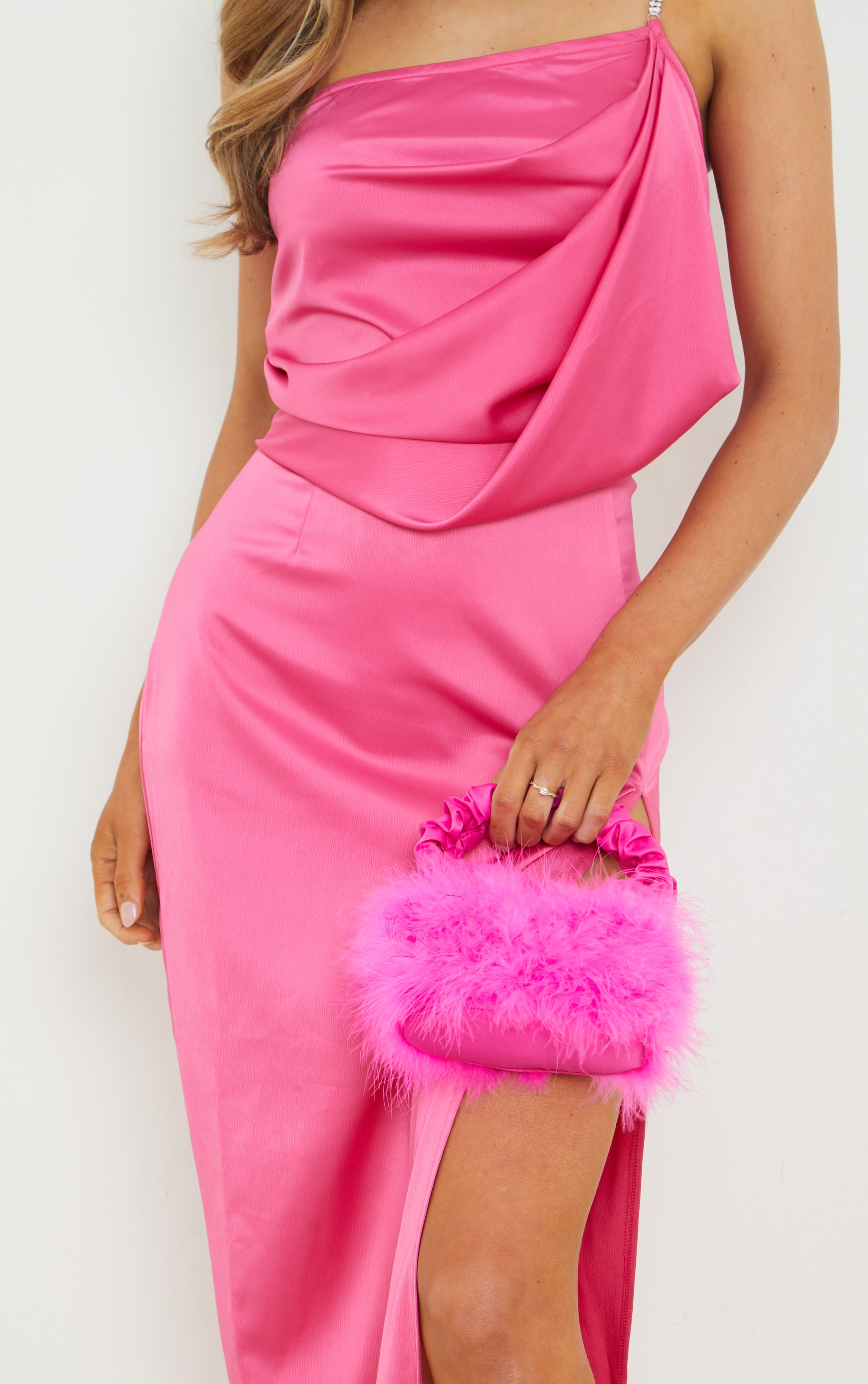 Pink Feather Ruched Handle Mini Grab Bag 1