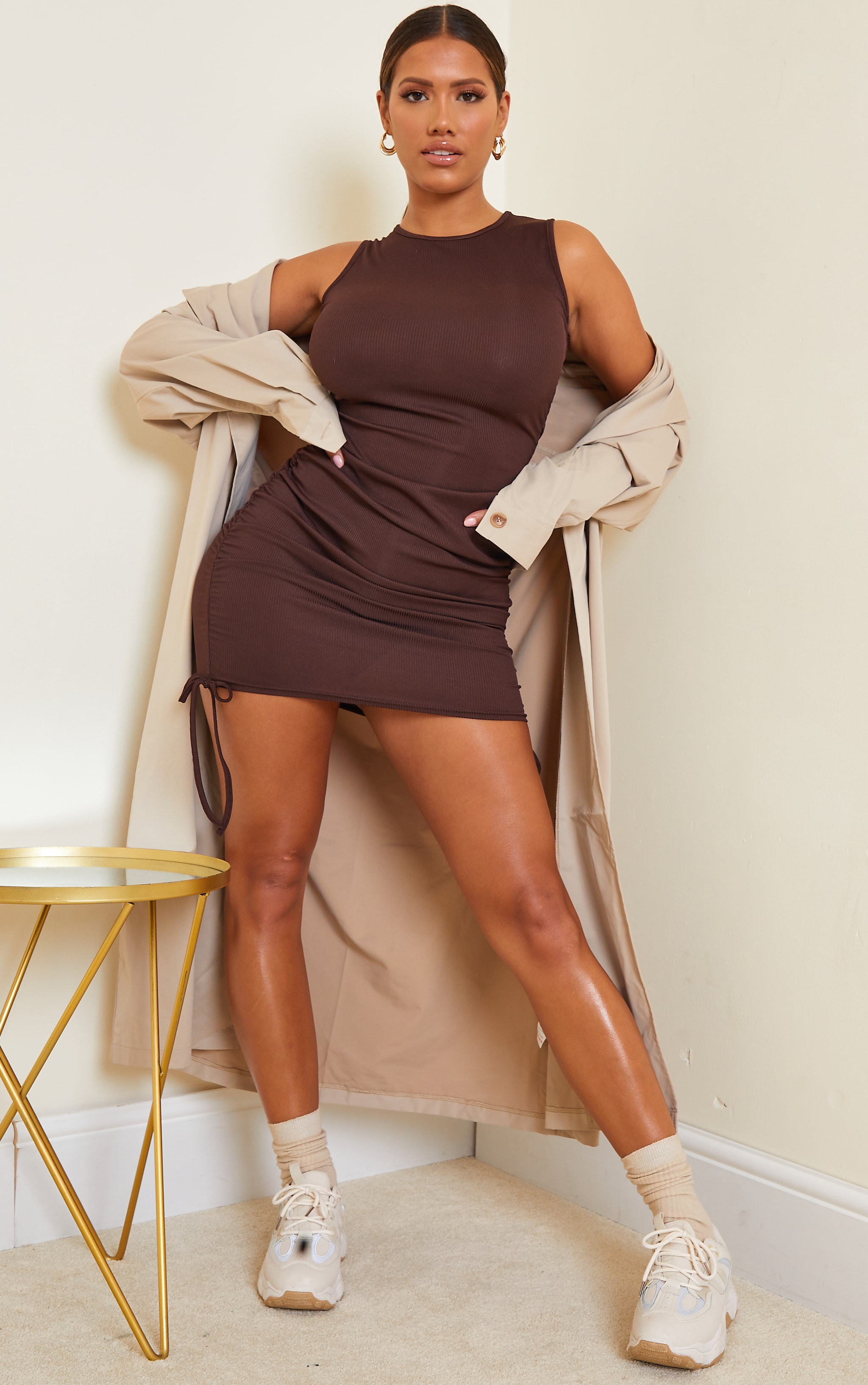 Shape Chocolate Brown Rib Ruched Side Sleeveless Bodycon Dress 3