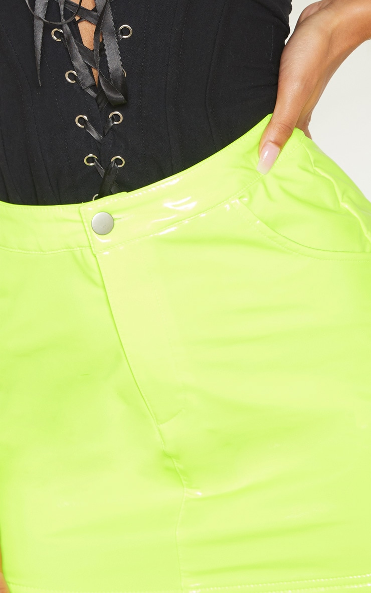 Neon Yellow Vinyl Mini Skirt  6