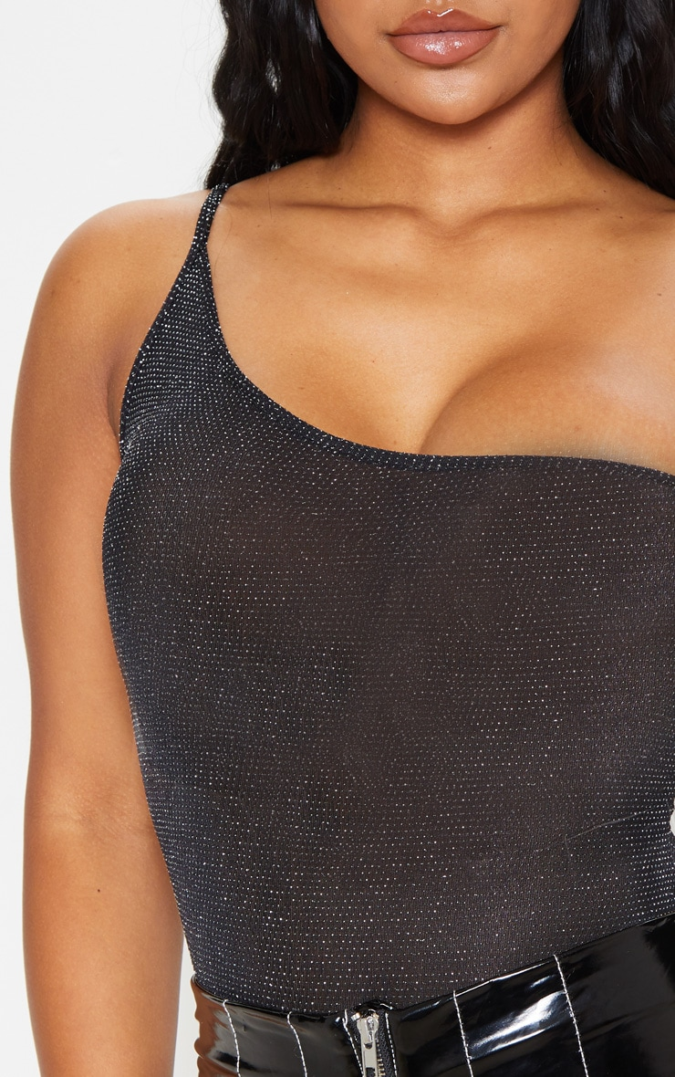 Black Textured Glitter Strappy One Shoulder Bodysuit 6