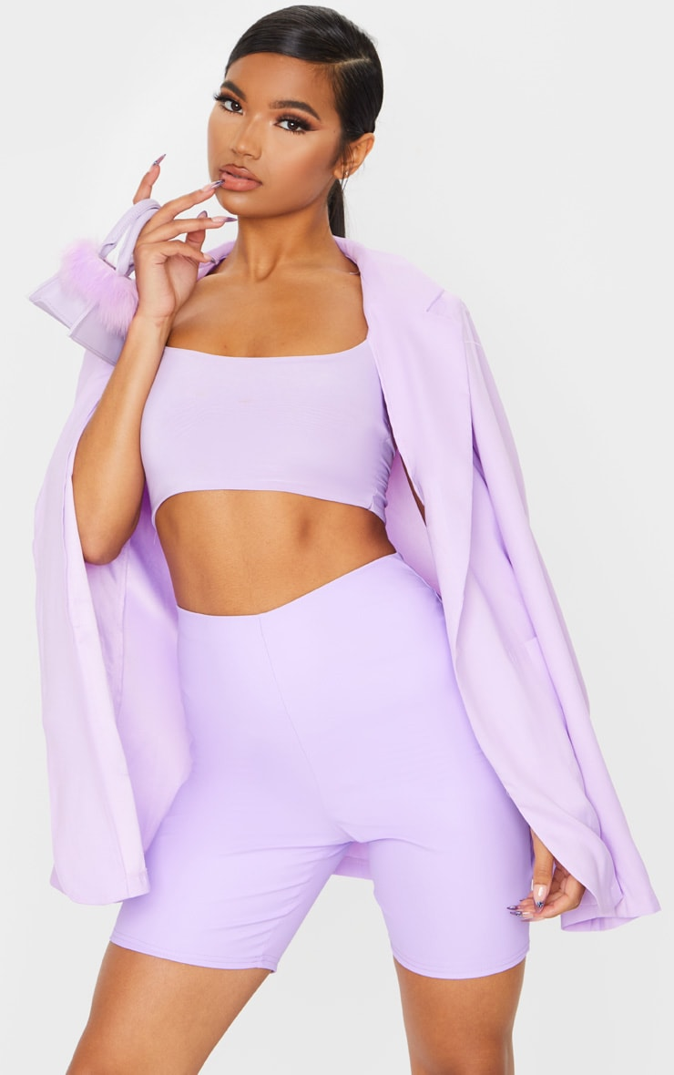Lilac Faux Leather Bike Shorts 1