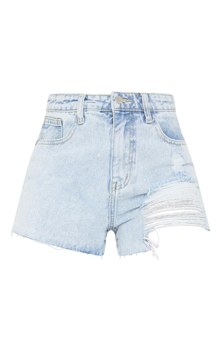 Tall Bleach Wash Ripped Denim Mom Shorts 6