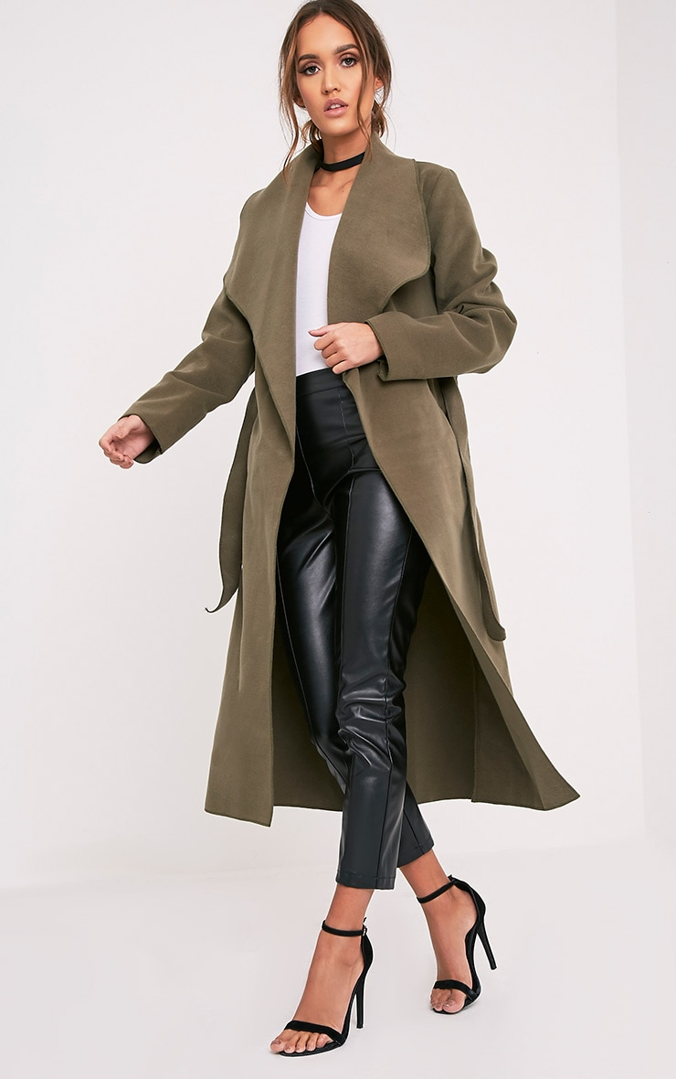 Veronica Khaki Oversized Waterfall Belt Coat 5
