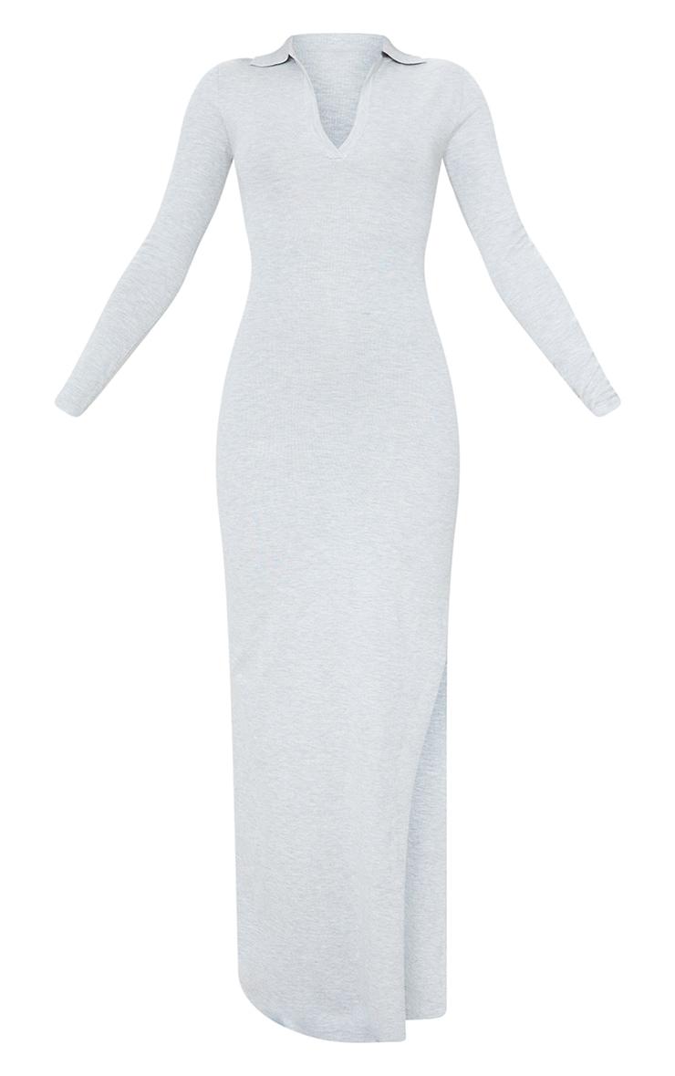 Grey Collar Detail Maxi Side Split Knitted Dress 5