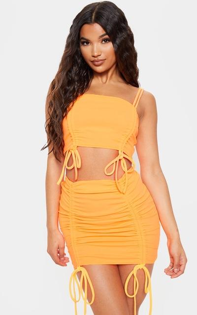 b762c063825 Bright Orange Ruched Front Detail Mini Skirt