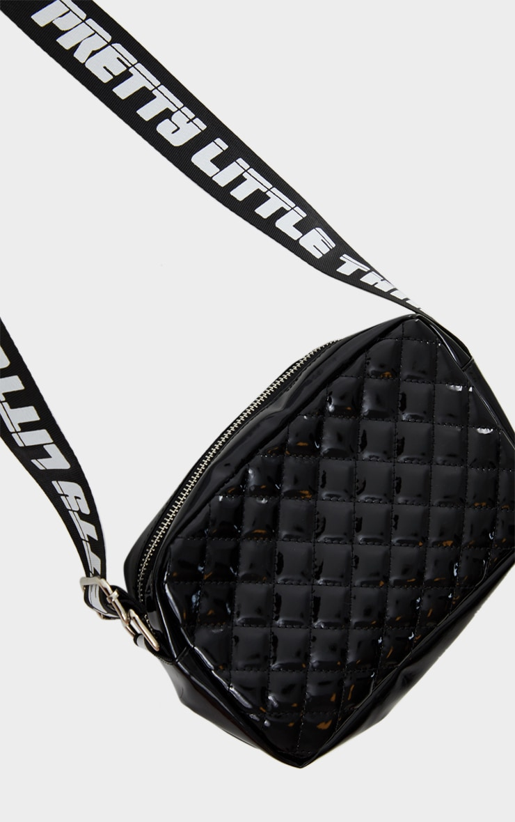 PRETTYLITTLETHING Black Shiny Quilted Cross Body Bag 3