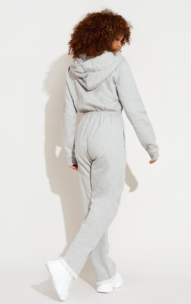 Grey Marl Knee Rip Hooded Sweat Jumpsuit 2