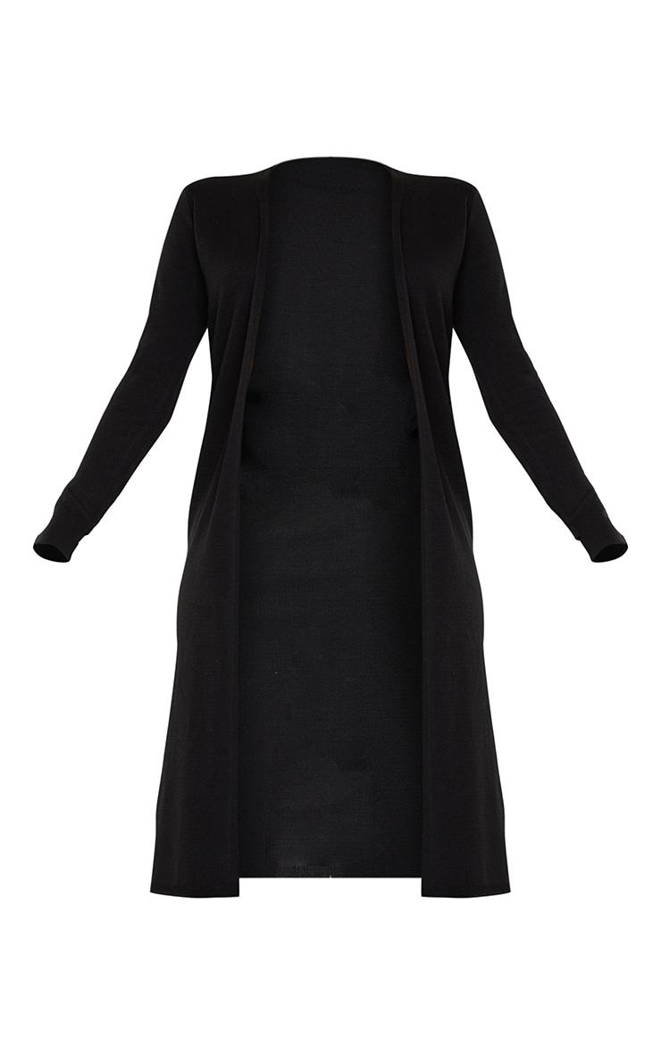 Black Knitted Longline Edge To Edge Cardigan 5