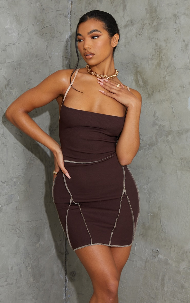 Chocolate Overlock Stitch Lace Up Back Bodycon Dress 3