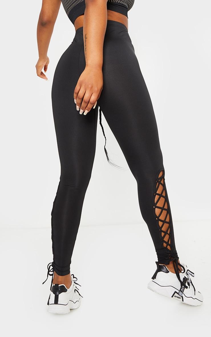 Black Lace Up High Waist Gym Leggings 3
