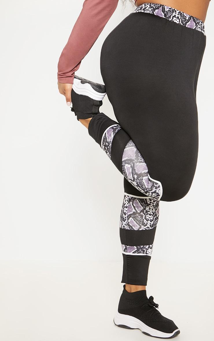 Plus Black Snake Panel Binded Gym Legging 2