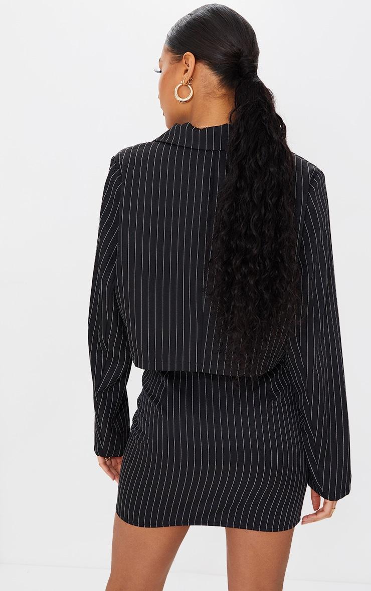 Black Woven Pinstripe Oversized Cropped Blazer 2
