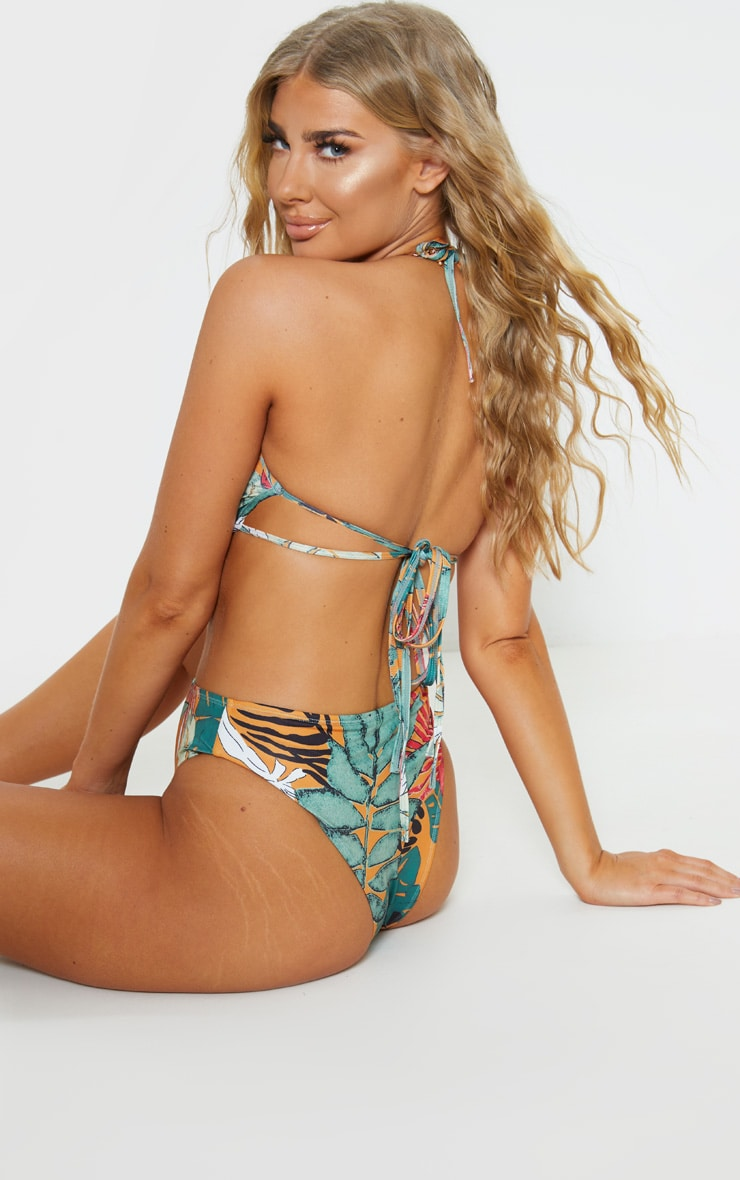 Orange Big Leaf Cleavage Wire Bikini Top 2