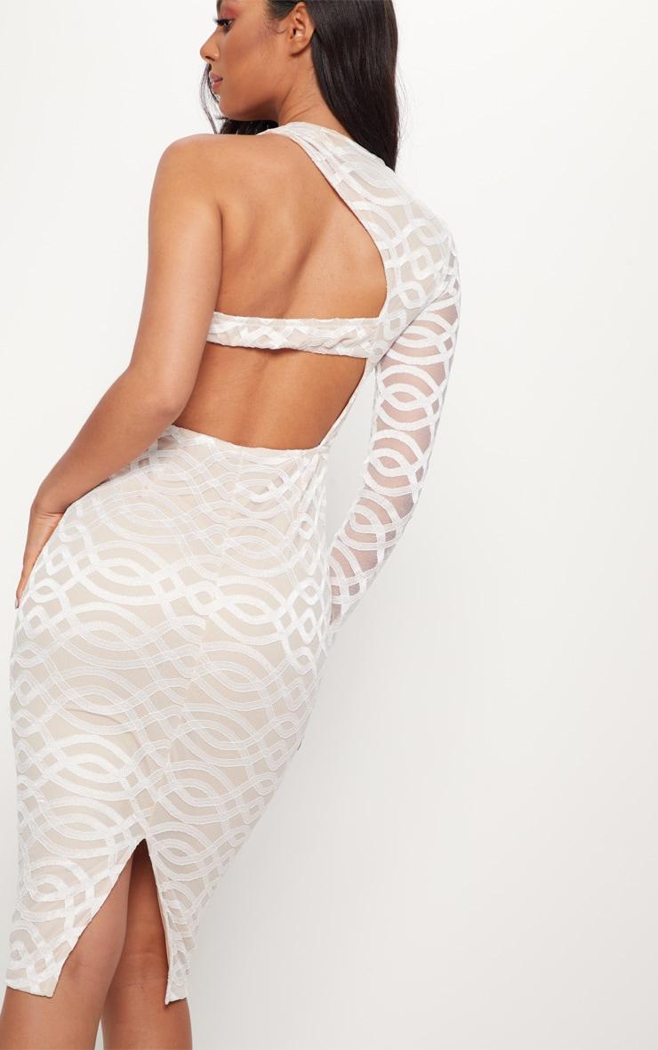 White One Shoulder Lace Midi Dress 5