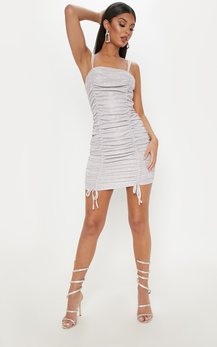 Lilac Glitter Metallic Ruched Bodycon Dress 4