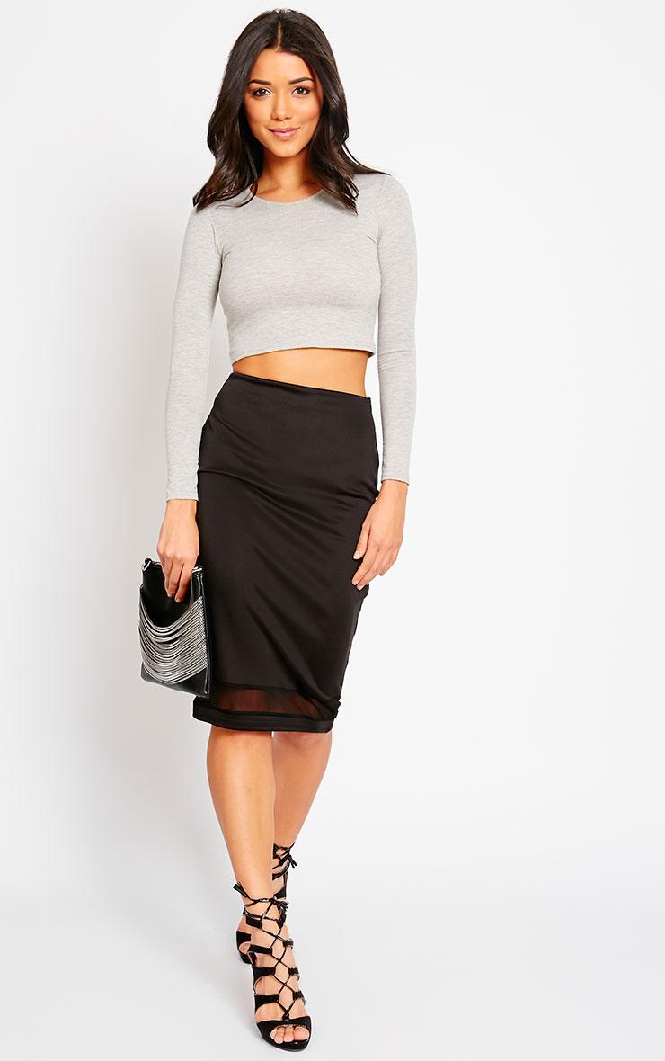 Tameka Black Scuba Mesh Midi Skirt 5