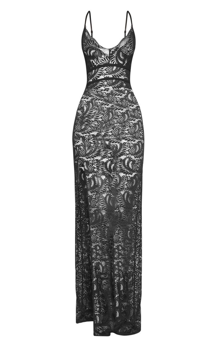 Black Sheer Lace Extreme Split Maxi Dress 3