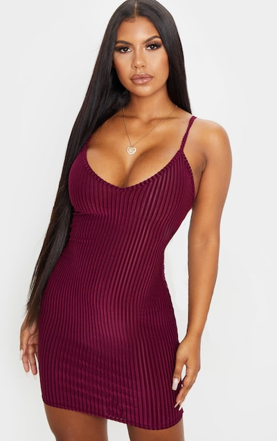 Burgundy Velvet Ribbed Strappy Bodycon Dress