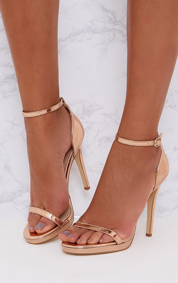 Rose Gold Single Strap Heeled Sandals 2