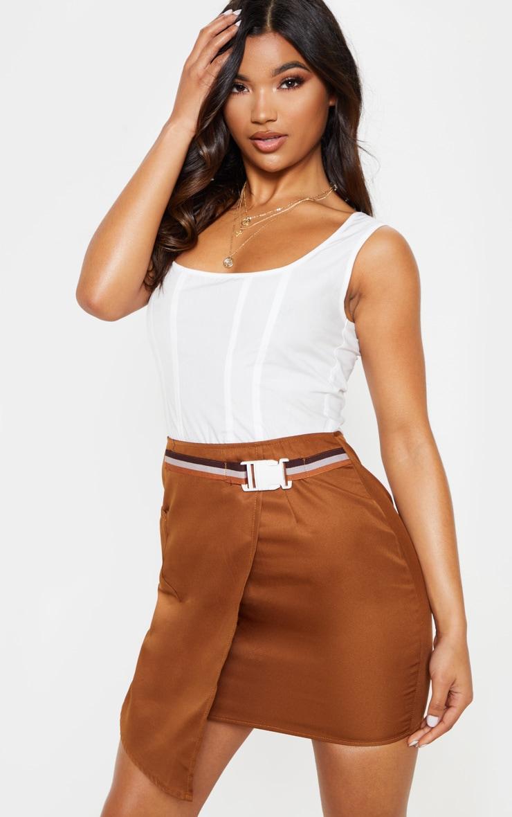 Tan Belted Waist Wrapover Mini Skirt 1
