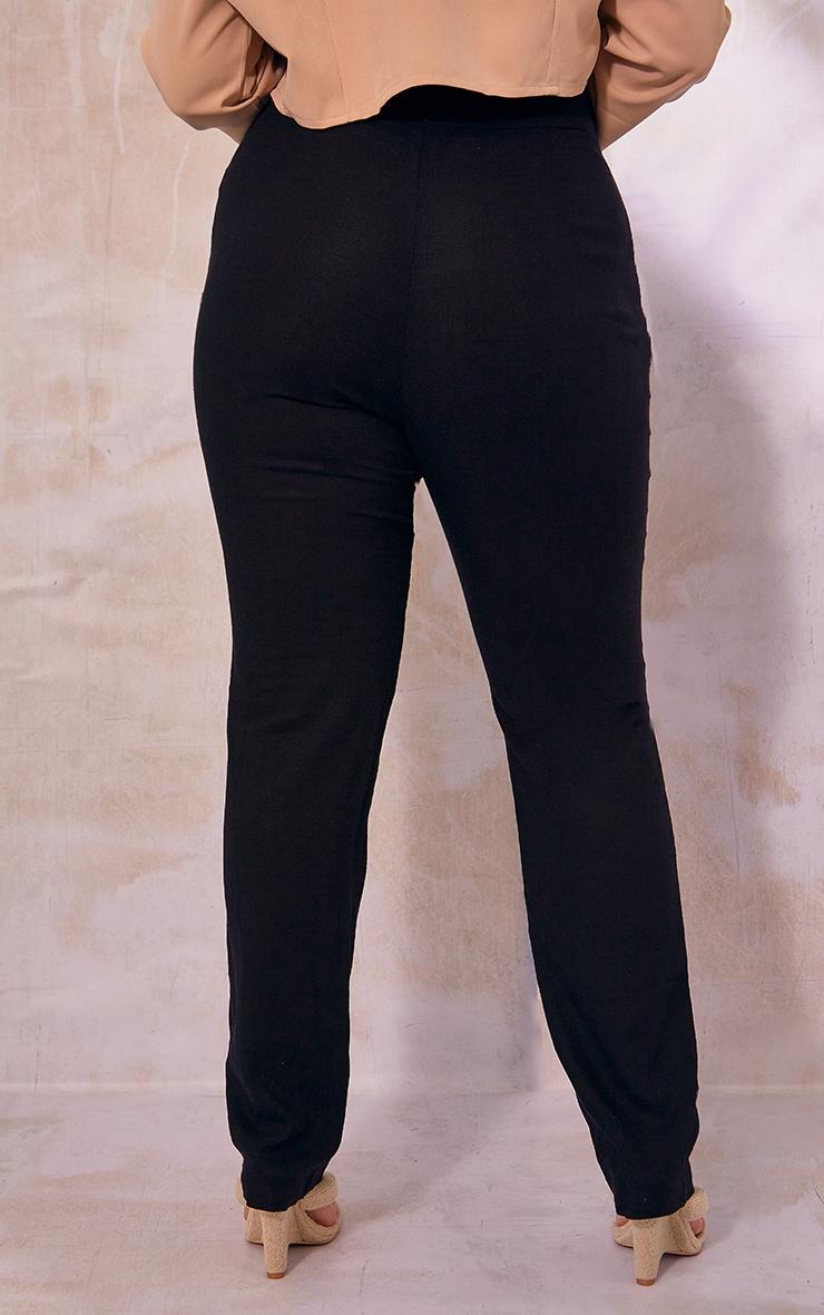 Plus Black Woven Straight Leg Pants 3