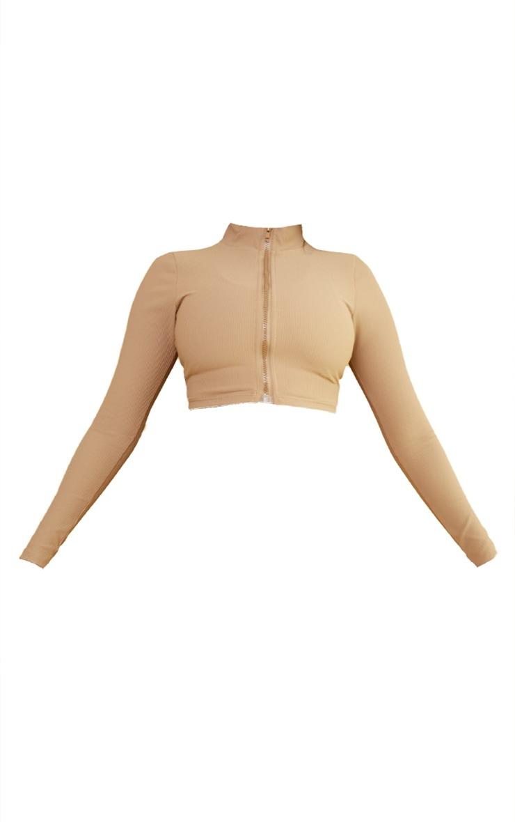 Brown Ribbed Textured Zip Up Gym Jacket 5
