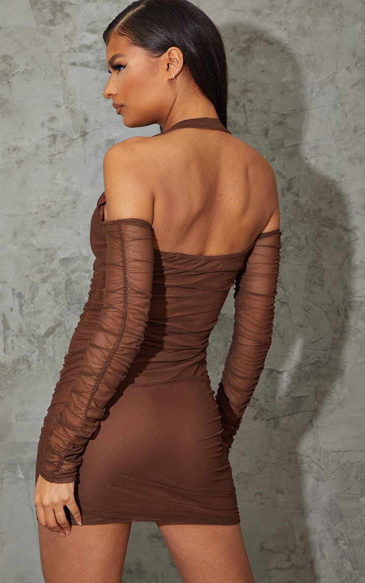 Chocolate Halterneck Long Sleeve Mesh Ruched Bodycon Dress 2
