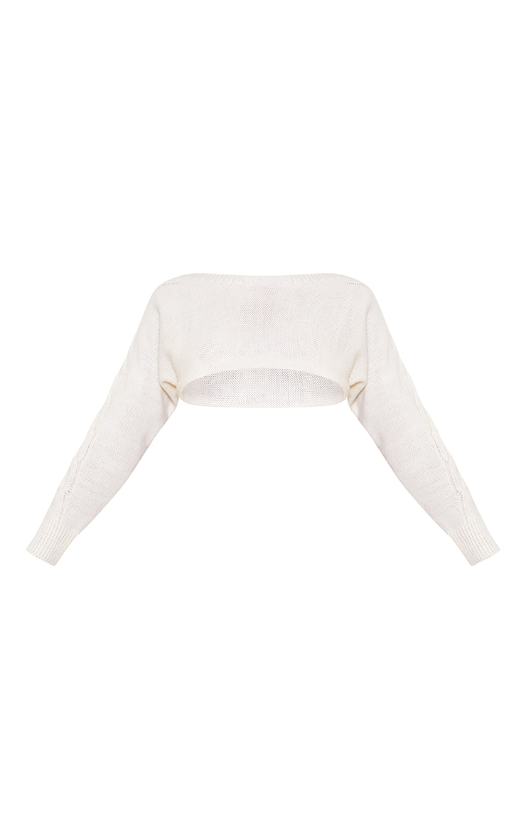 Cream Super Crop Cable Sleeve Batwing Jumper 5