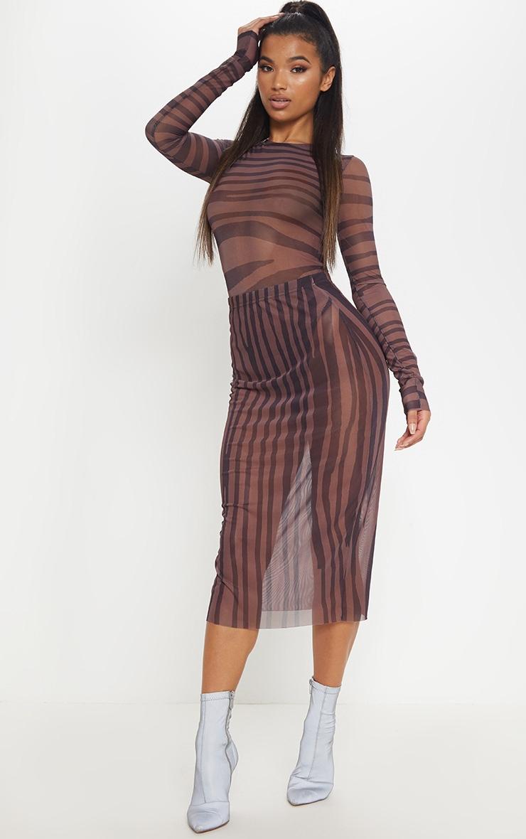 Brown Printed Mesh Midaxi Skirt 1