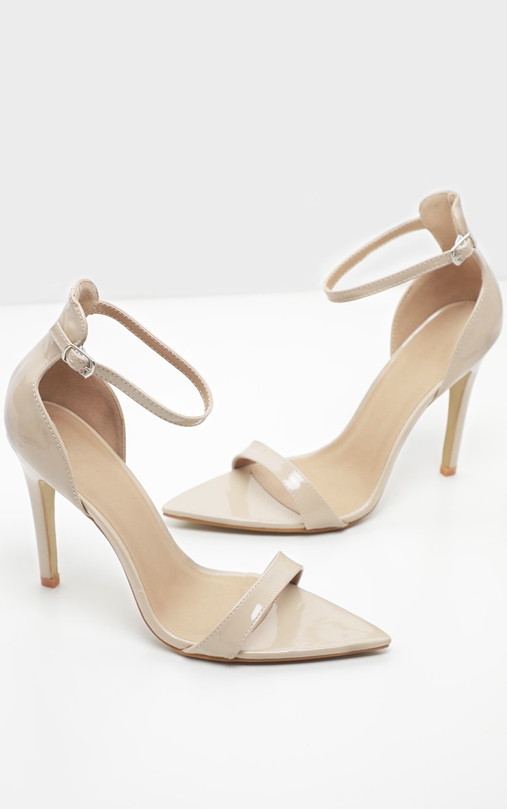 Nude Patent Point Toe Strappy Sandal  3