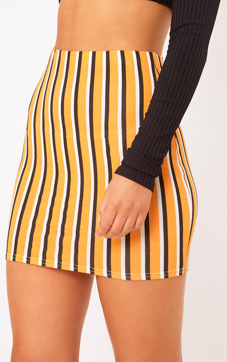 Orange Jersey Stripe Mini Skirt 6