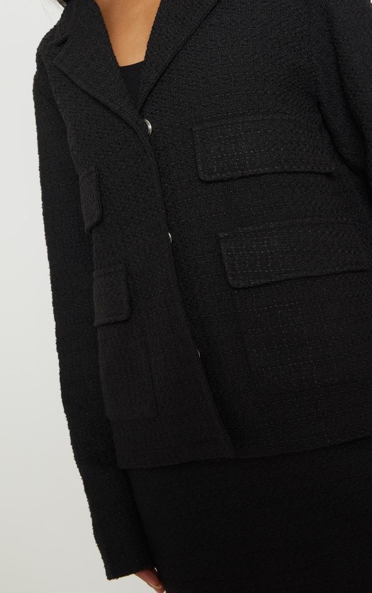 Black Boucle Boxy Jacket  5
