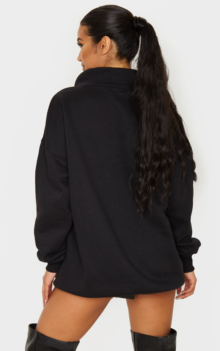 Black Lace Up High Neck Sweater 2