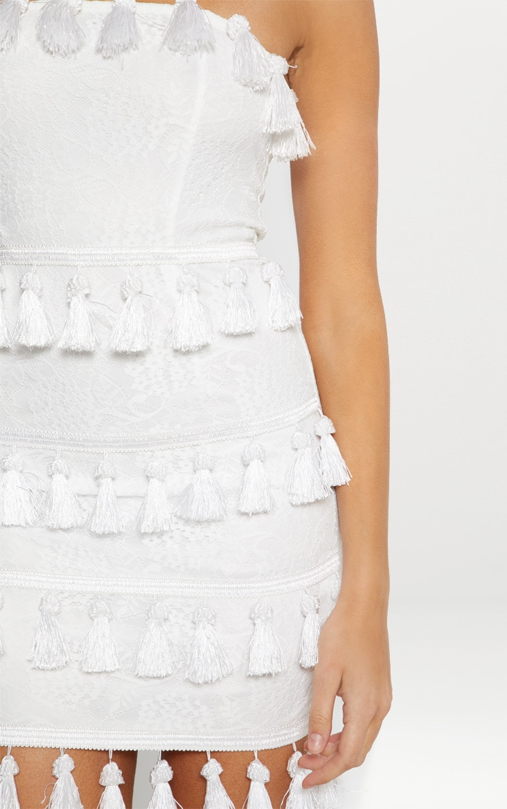 White Lace Tassel Trim Bandeau Bodycon Dress 4