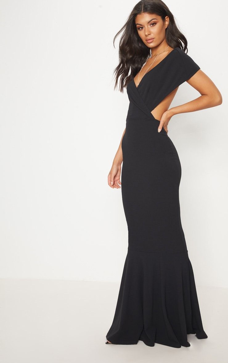 Black Bardot Cut Out Fishtail Maxi Dress 4