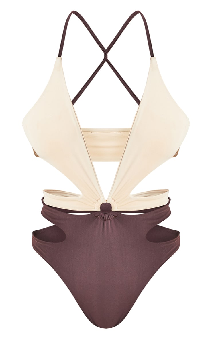 Chocolate Contrast Cut Out Swimsuit 8