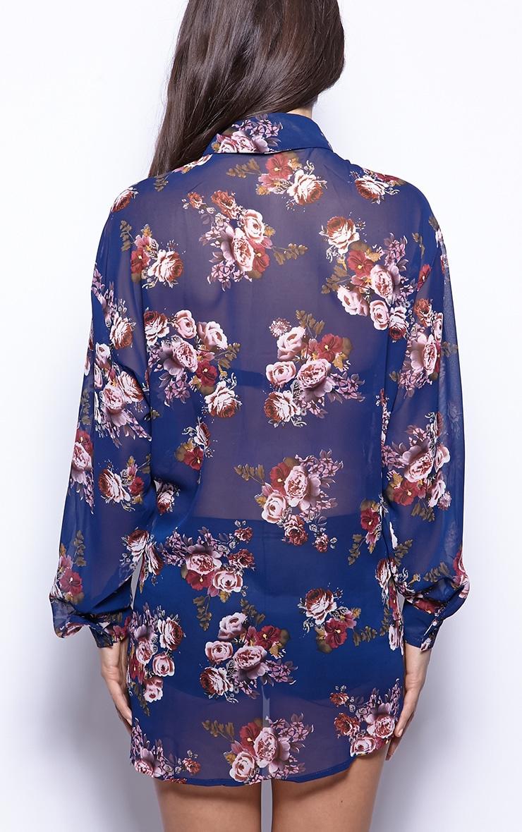 Lucinda Navy Floral Print Shirt Dress 2