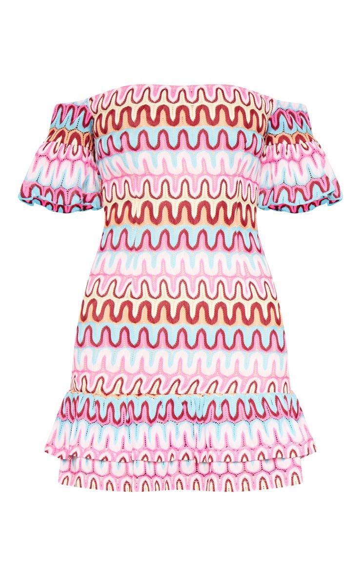 Pink Chevron Bardot Frill Hem Bodycon Dress 3