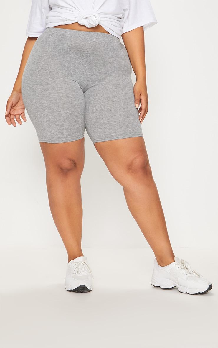Plus Grey Marl Basic Cycle Shorts 2