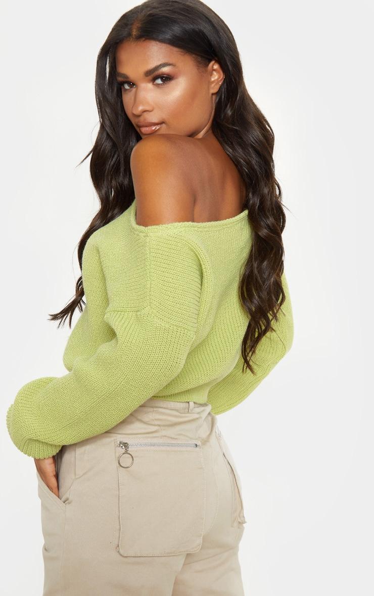 Lime Off The Shoulder Knitted Crop Jumper  2