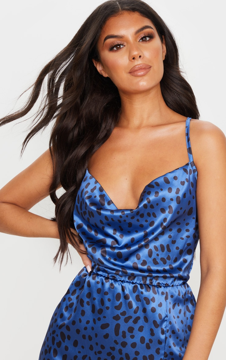 Blue Satin Leopard Cowl Front Midi Dress 4