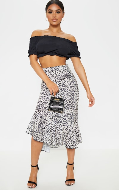 Petite Leopard Print Ruffle Detail Midi Skirt