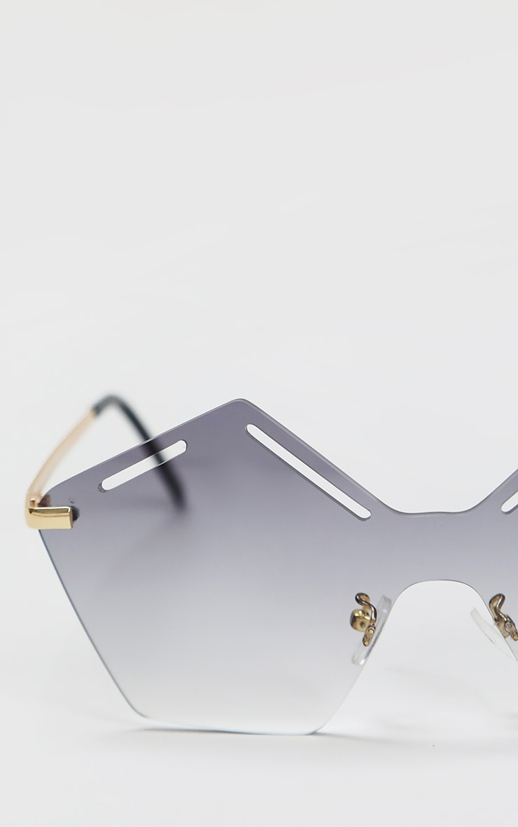 Black Faded Lens Cut Out Hexagon Sunglasses 2