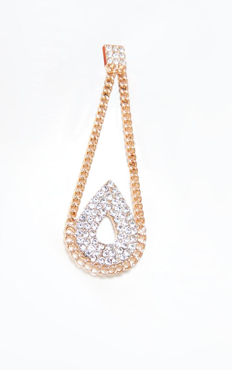 Gold Chain Diamante Teardrop Earrings 3