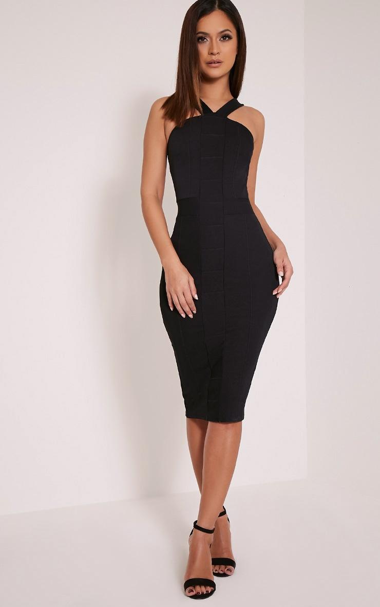 Meryl Black Bandage Strap Detail Bodycon Dress 1