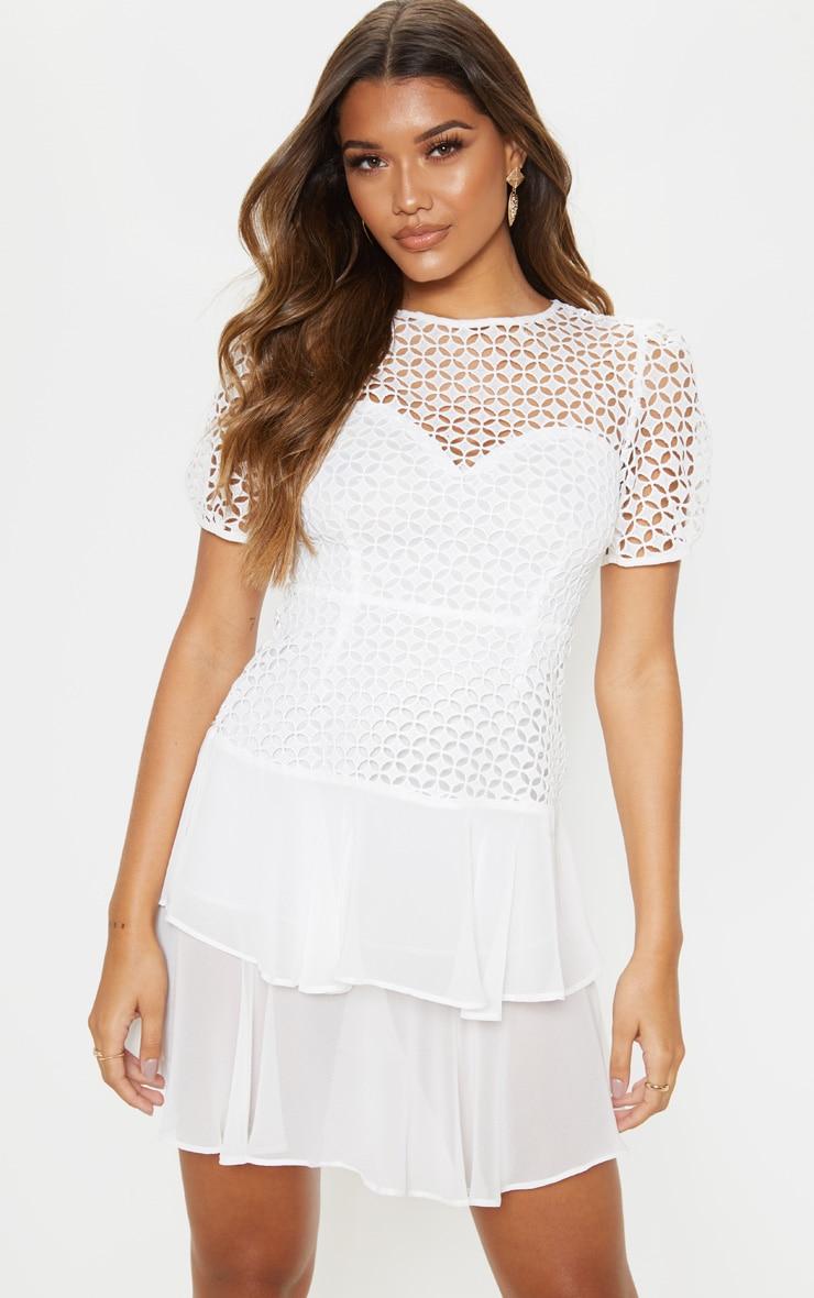 White Lace Puff Sleeve Shift Dress 1