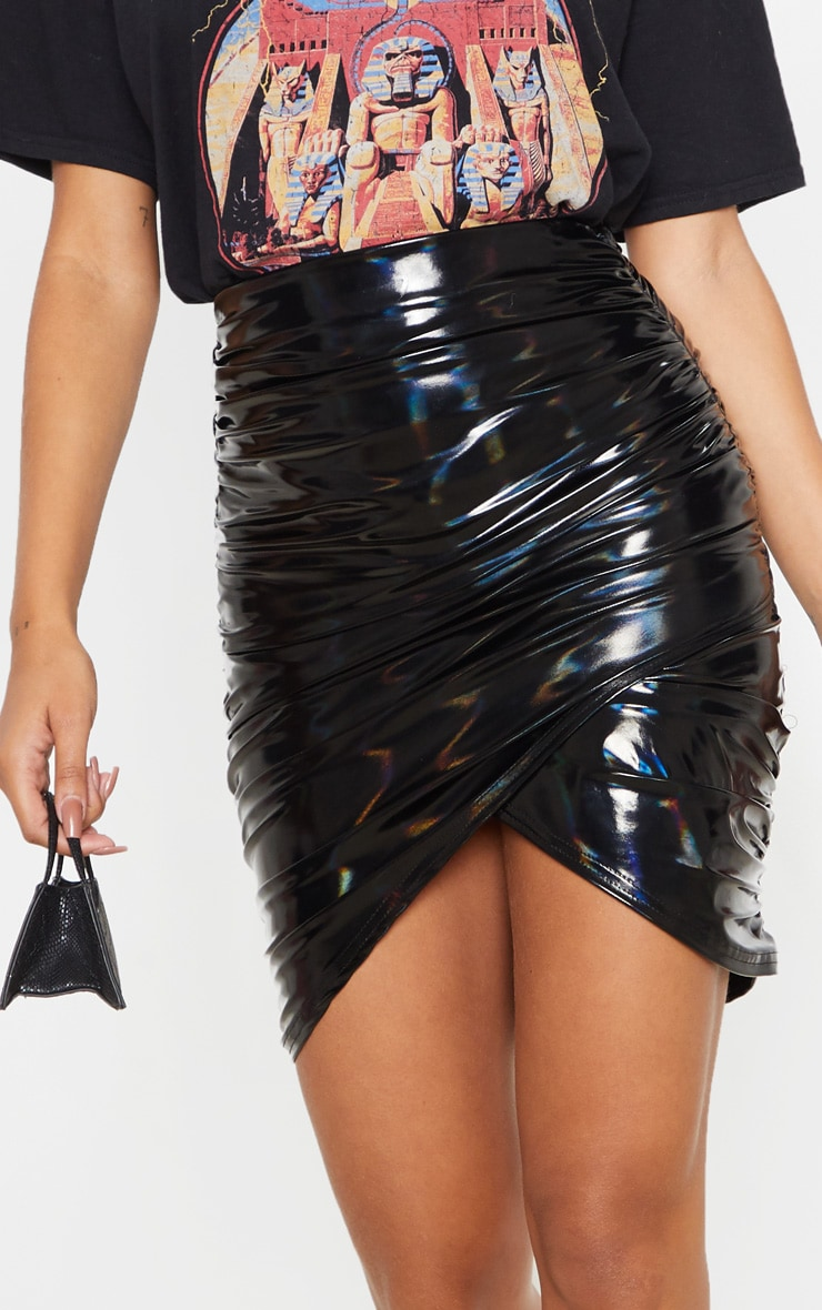 Black Vinyl Ruched Wrap Mini Skirt  6