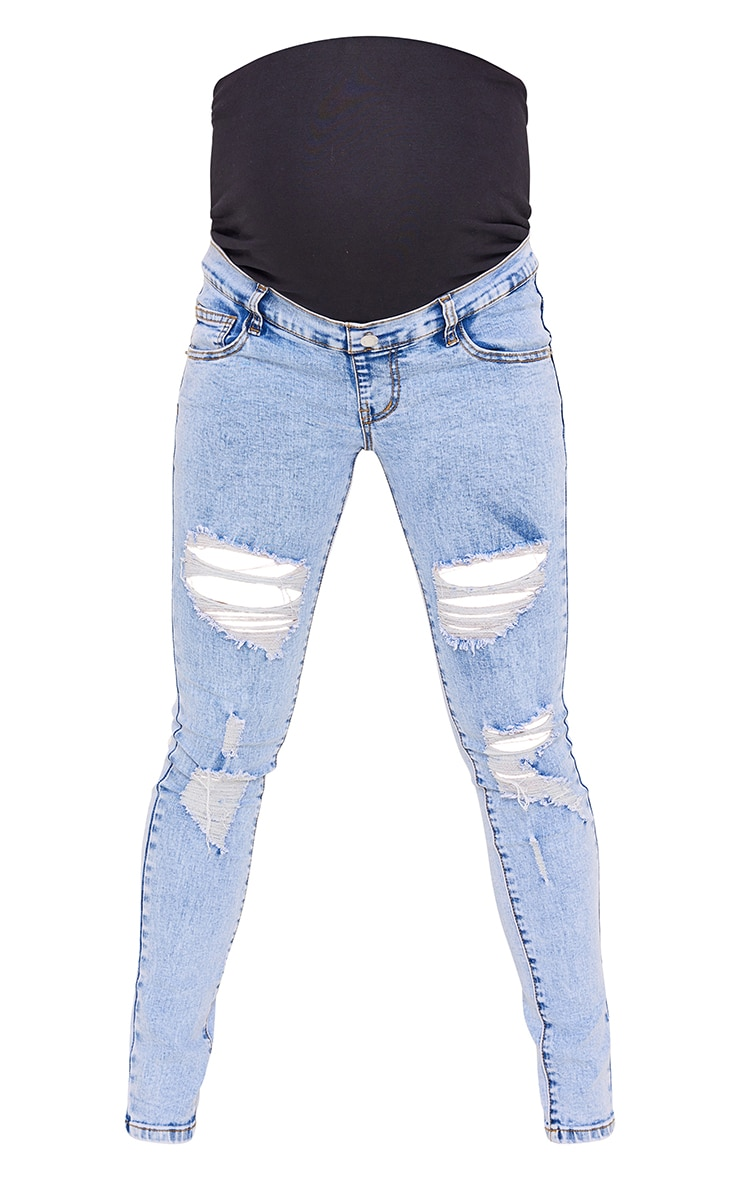 Maternity Blue Ripped Skinny Jeans 5