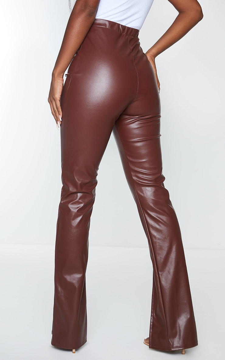 Chocolate Faux Leather Seam Detail Split Hem Pants 3